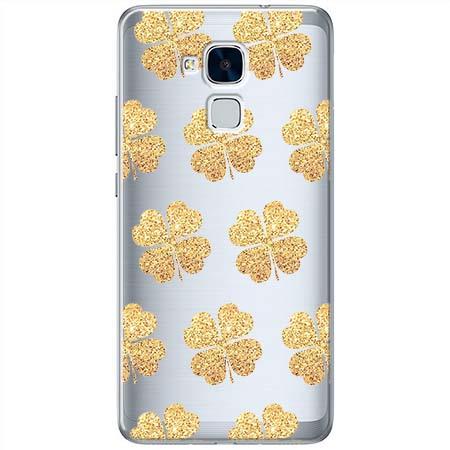 Etui na Huawei Honor 7 Lite - Złote koniczynki.