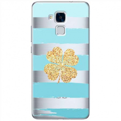 Etui na Huawei Honor 7 Lite - Złota czterolistna koniczyna.