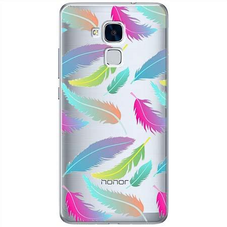 Etui na Huawei Honor 7 Lite - Tęczowe piórka.