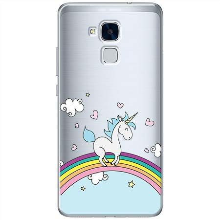 Etui na Huawei Honor 7 Lite - Jednorożec na tęczy.