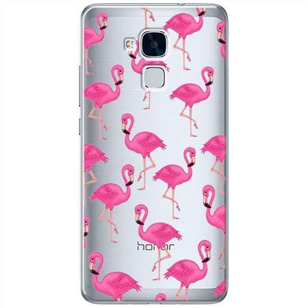 Etui na Huawei Honor 7 Lite - Różowe flamingi.