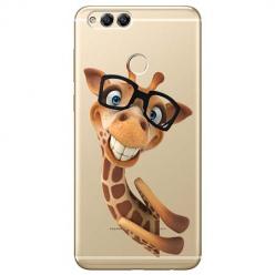 Etui na Huawei Honor 7X - Wesoła żyrafa w okularach.