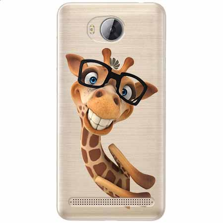 Etui na Huawei Y3 II - Wesoła żyrafa w okularach.