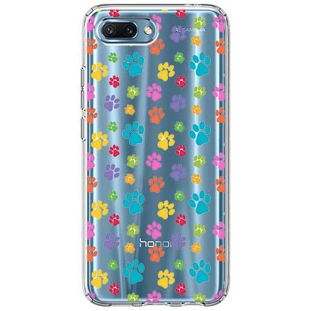 Etui na Huawei Honor 10 - Kolorowe psie łapki.