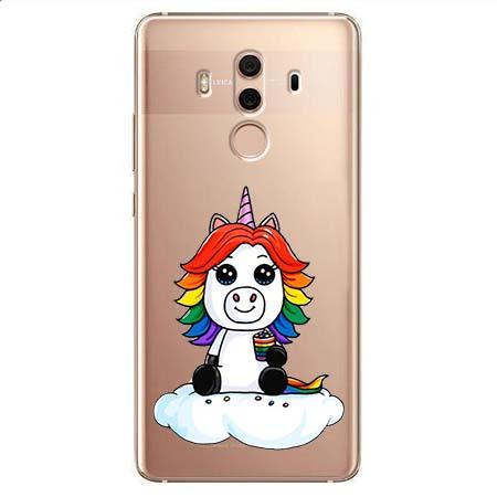 Etui na Huawei Mate 10 Pro - Tęczowy jednorożec na chmurce.