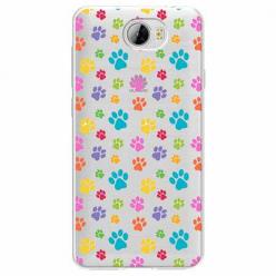Etui na Huawei Y5 II - Kolorowe psie łapki.