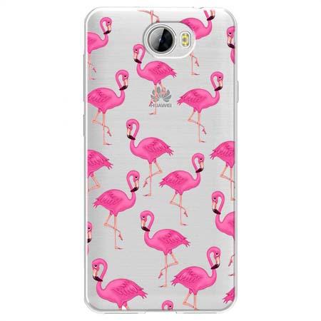 Etui na Huawei Y5 II - Różowe flamingi.