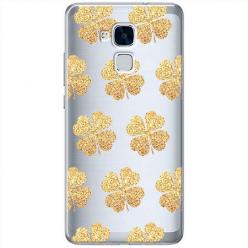 Etui na Huawei Honor 5C - Złote koniczynki.