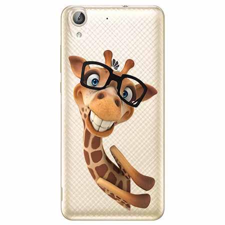 Etui na Huawei Y6 II - Wesoła żyrafa w okularach.