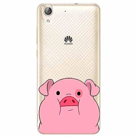 Etui na Huawei Y6 II - Słodka różowa świnka.