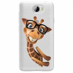 Etui na Huawei Y6 II Compact - Wesoła żyrafa w okularach.