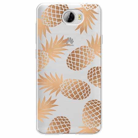 Etui na Huawei Y6 II Compact - Złote ananasy.