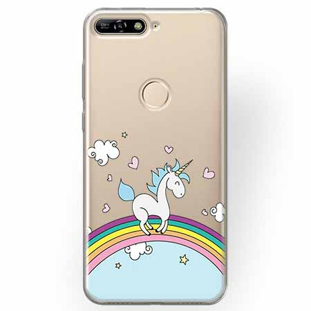 Etui na Huawei Y7 Prime 2018 - Jednorożec na tęczy.