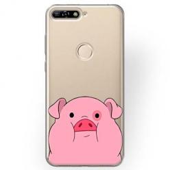 Etui na Huawei Y7 Prime 2018 - Słodka różowa świnka.