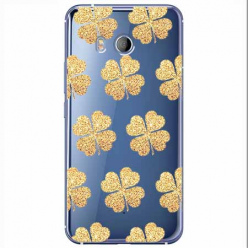 Etui na HTC U11 - Złote koniczynki.