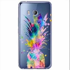 Etui na HTC U11 - Watercolor ananasowa eksplozja.
