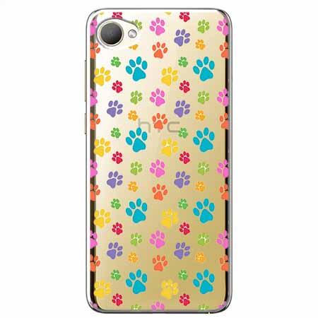 Etui na HTC Desire 12 - Kolorowe psie łapki.