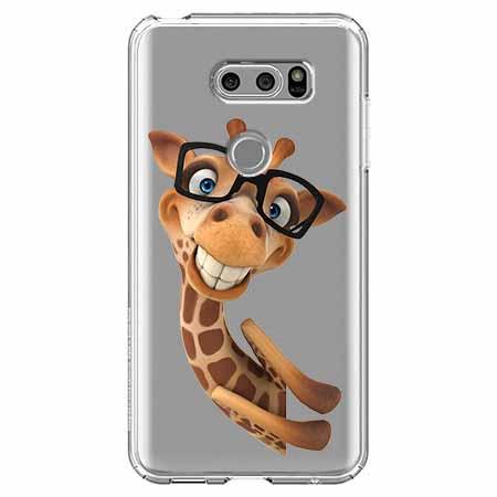 Etui na LG V30 - Wesoła żyrafa w okularach.