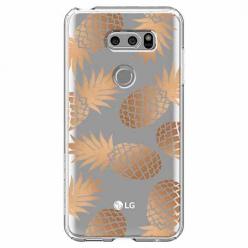 Etui na LG V30 - Złote ananasy.