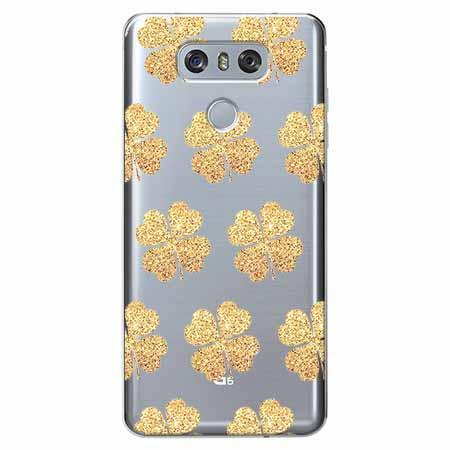 Etui na LG G6 - Złote koniczynki.