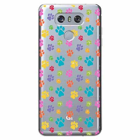 Etui na LG G6 - Kolorowe psie łapki.