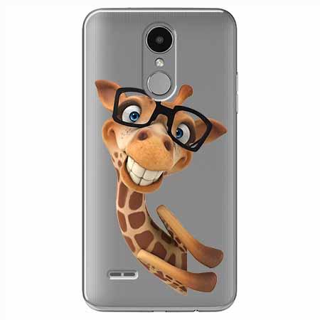 Etui na LG K8 2017 - Wesoła żyrafa w okularach.