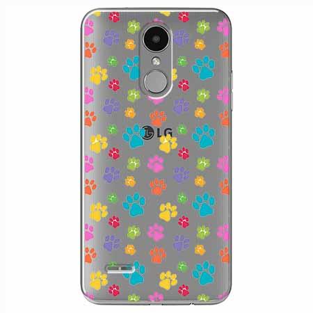 Etui na LG K8 2017 - Kolorowe psie łapki.