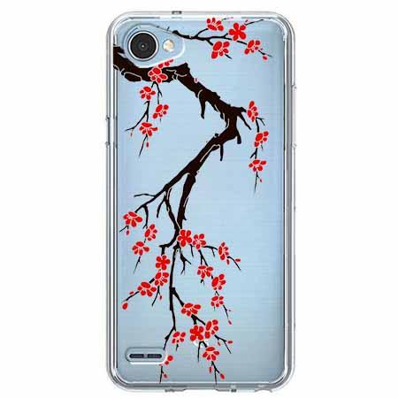 Etui na LG Q6 - Krzew kwitnącej wiśni.