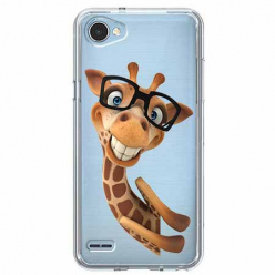 Etui na LG Q6 - Wesoła żyrafa w okularach.
