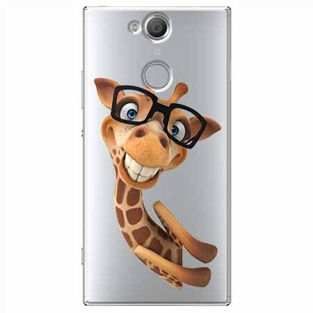 Etui na Sony Xperia XA2 - Wesoła żyrafa w okularach.