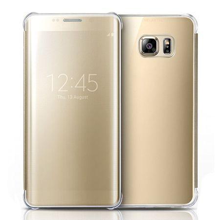 Etui na Samsung Galaxy S7 - Flip Clear View z klapką - Złoty.
