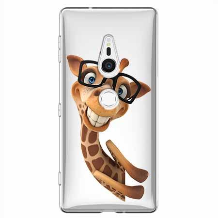 Etui na Sony Xperia XZ2 - Wesoła żyrafa w okularach.