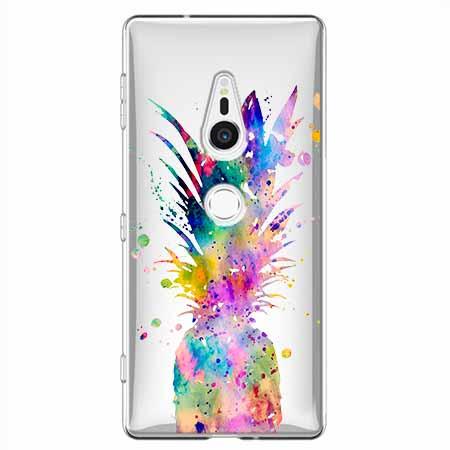 Etui na Sony Xperia XZ2 - Watercolor ananasowa eksplozja.