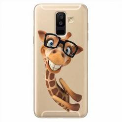 Etui na Samsung Galaxy A6 Plus 2018 - Wesoła żyrafa w okularach.
