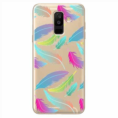 Etui na Samsung Galaxy A6 Plus 2018 - Tęczowe piórka.