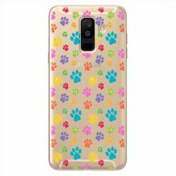 Etui na Samsung Galaxy A6 Plus 2018 - Kolorowe psie łapki.