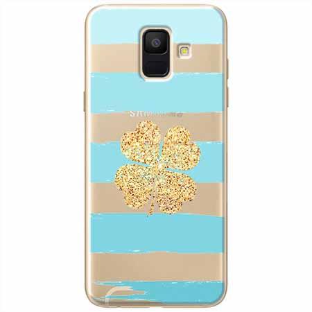 Etui na Samsung Galaxy A8 2018 - Złota czterolistna koniczyna.
