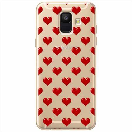 Etui na Samsung Galaxy A8 2018 - Czerwone serduszka.