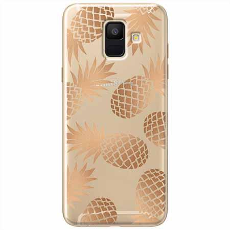 Etui na Samsung Galaxy A8 2018 - Złote ananasy.