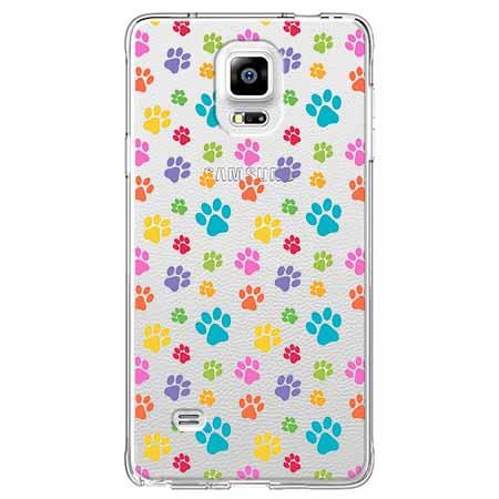 Etui na Samsung Galaxy Note 4 - Kolorowe psie łapki.