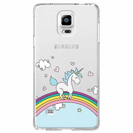 Etui na Samsung Galaxy Note 4 - Jednorożec na tęczy.