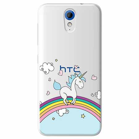 Etui na HTC Desire 620 - Jednorożec na tęczy.