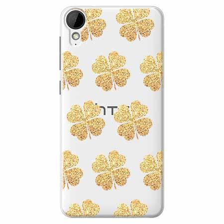 Etui na HTC Desire 825 - Złote koniczynki.