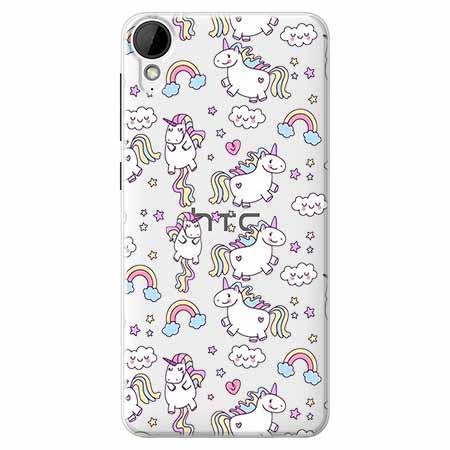 Etui na HTC Desire 825 - Tęczowe jednorożce.