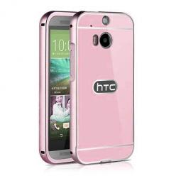 HTC One M8 etui aluminium bumper case - różowy