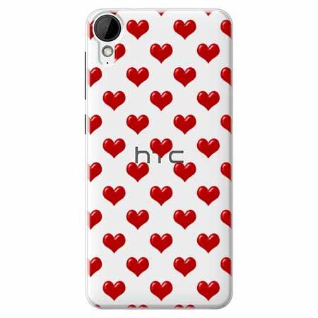 Etui na HTC Desire 825 - Czerwone serduszka.