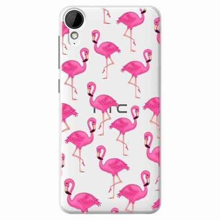 Etui na HTC Desire 825 - Różowe flamingi.