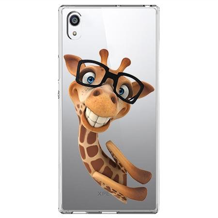 Etui na Sony Xperia E5 - Wesoła żyrafa w okularach.