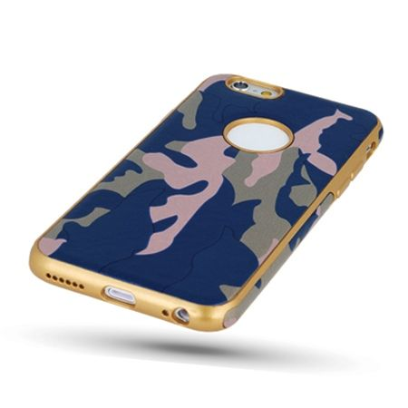 Etui na iPhone SE silikonowe TPU Army moro - Niebieski.