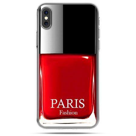 Etui na telefon iPhone XS - lakier do paznokci czerwony